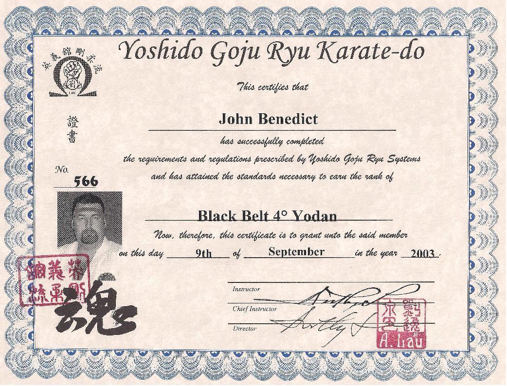 Certificates Seitouha Goju Ryu Karate Seigi Dai Dojo